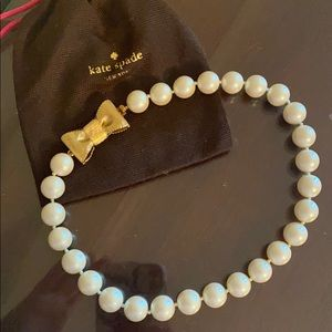 Kate Spade Pearl Necklace with Bow Clasp